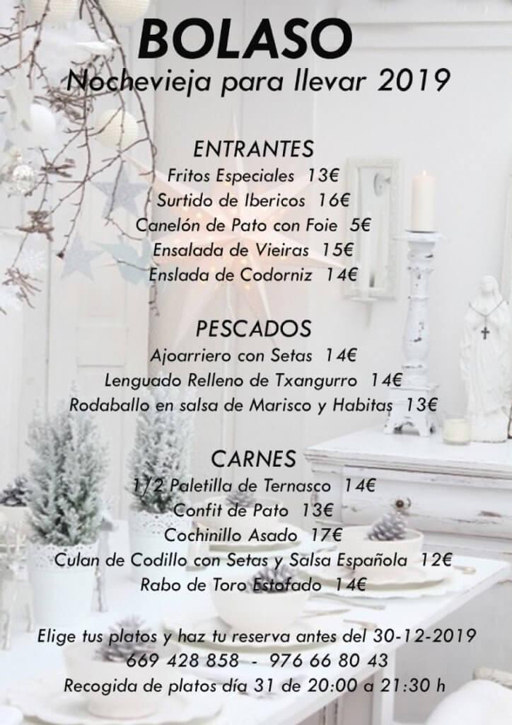 El Bolaso Menu Nochevieja 2019